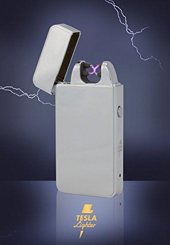 Tesla-Lighter T11 | Lichtbogen Feuerzeug, Plasma Double-Arc, elektronisch wiederaufladbar, aufladbar mit Strom per USB, ohne Gas und Benzin, mit Ladekabel, in edler Geschenkverpackung, Silber