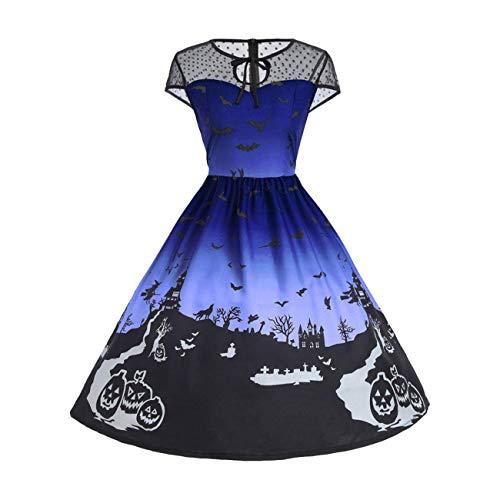 (Frauen Kleid, Halloween Frauen Mesh Patchwork gedruckt Vintage Kleid ärmelloses Kleid (Farbe : Blau, Größe : Large))