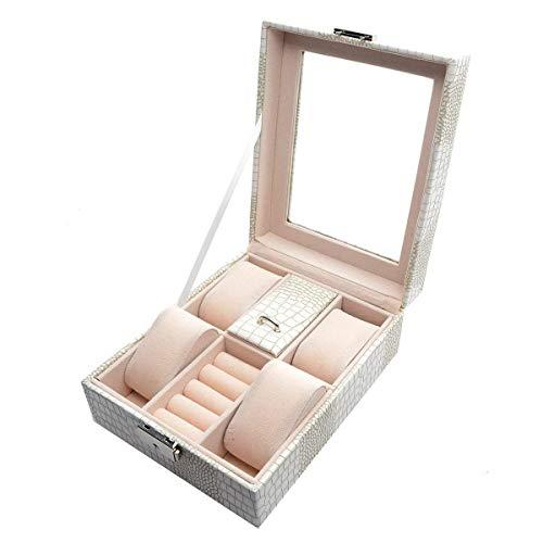 ox für Männer Frauen Kunstleder Uhrenbox 4 Abschnitte Dekorative Schmuck Display Schublade Abschließbare Fall Organizer Boxen (Weiß) ()