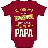 Shirtracer Sprüche Baby - Ich versuche Mich zu benehmen Papa orange - 3-6 Monate - Rot - BZ10 - Baby Body Kurzarm Jungen Mädchen