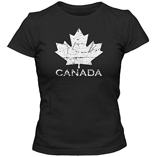 Canada Vintage Damenshirt | Eishockey | 2016 | Canada | Kanada | CAN | T-Shirt, Farbe:Schwarz (Deep Black L191);Größe:S (Kanada-tag T-shirt)
