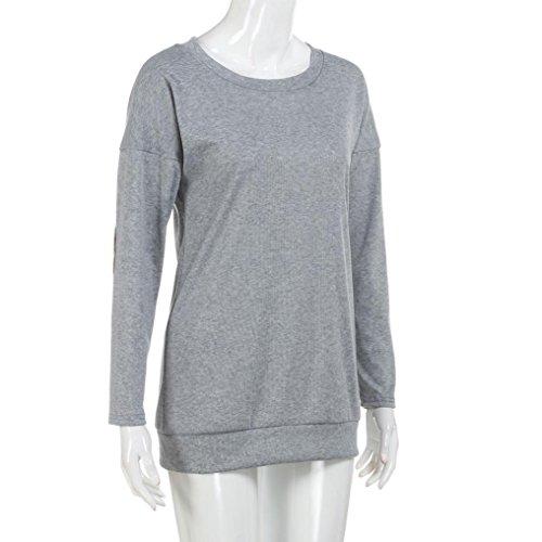 Sensail Femme Manches Longues Bloc de Couleur Patchwork Blouse T Shirt Tunique Tops Hauts Chic Automne Hiver Gris