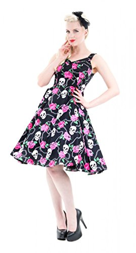 Hearts and Roses Skully with Retro 50s Swing Kleid