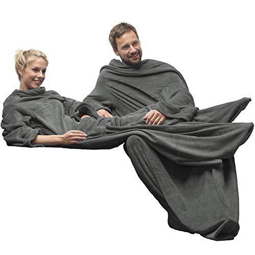 CelinaTex TV-Decke Kuscheldecke mit Ärmeln und Fußtasche XL 170 x 200 cm grau Coral Fleece Tagesdecke Ärmeldecke -