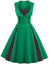 b0fba9a15c44e7 Baoblaze Vintage 50er Jahre Rockabilly Kleid Ärmellos Retro Polka Dots  Cocktailkleider größe Größen Abendkleid Swing Faltenkleid