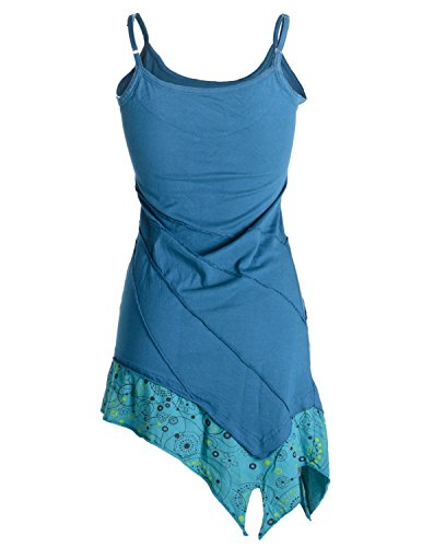 Vishes - Alternative Bekleidung – Asymmetrische Baumwolltunika – Minikleid mit Spagettiträgern Türkis