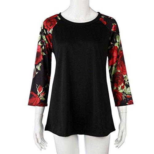 Rawdah T-Shirt DImpression à Manches Longues Mode Femmes Dames Plus Size Thanksgiving Blouse Tops Patchwork T-Shirt O-Cou Plissé Pure Color Casual Tops Slim Blouse (XL, A-Vert) Rouge