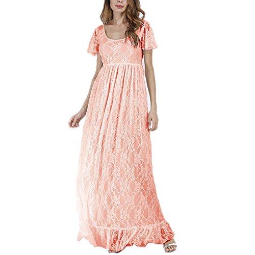Meer Unter Dem Kostüme Baby (Elegantes Damen Umstandskleid Mutterschaft Fotografie Kleid Schwangerschafts Kleid Spitzenkleid Empire Kleid Spitzen Rundhals Kurz-sleeved MaxiKleid Rosa)