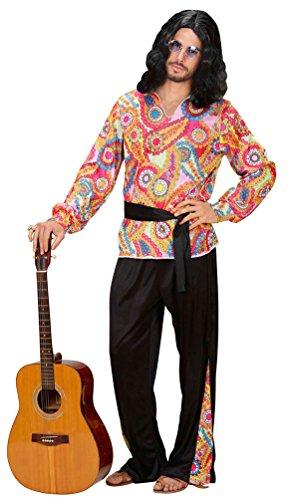 (Karneval Klamotten Hippie Kostüm Herren Flower-Power Peace Kostüm Herren 60er 70er Jahre bunt schwarz Karneval Herren-Kostüm Größe 54)