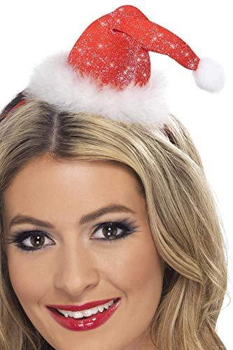 Smiffys Damen Mini Santa Hut mit Bommel auf Haarreif, One Size, Rot, 28420