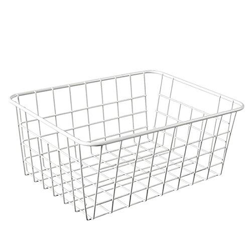 Vicoki Korb Metall, Aufbewahrungskiste Aufbewahrungskorb Klein flexible Aufbewahrungskorb aus Metall Haushalt Universelle Gitterbox (Weiß) Metall-rattan-körbe