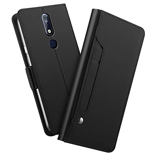 Forhouse Kompatibel mit Nokia 3.1 Plus (Nokia X3) Leder Hülle, Premium PU Ledertasche etui Schutzhülle Tasche mit Ständer Slim Flip Case für Nokia 3.1 Plus (Nokia X3)(Schwarz) Slim Tasche Etui