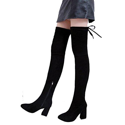 HOMEE Ms Pu Boots Knie Verdickung Scrub Verband Seitlicher Reißverschluss wies Schuhe,37 Eu,Schwarz (Reißverschluss-knie-boot)