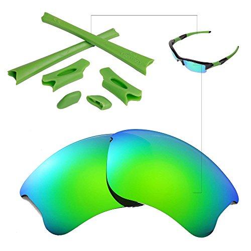 Walleva Emerald Polarisierte Linsen + Grün Gummi für Oakley Flak Jacket XLJ