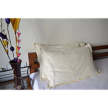 """Trance Home Linen Cotton Pillow Covers (20"""" X 30"""", Ivory) - Pack of 2"""