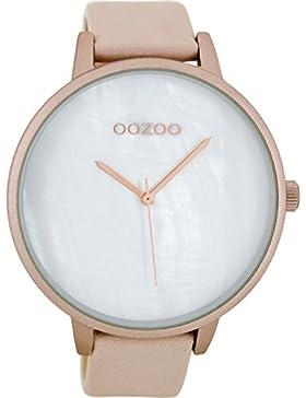 Oozoo Damen-Armbanduhr XXL mit Lederband Pinkgrau C8651