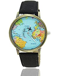 Mapas del mundo Patrón de avión Correas de lona Diseño de moda Movimiento de cuarzo Relojes