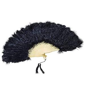 NEW BLACK FEATHER FAN FRENCH MAID FANCY DRESS (accesorio de disfraz)