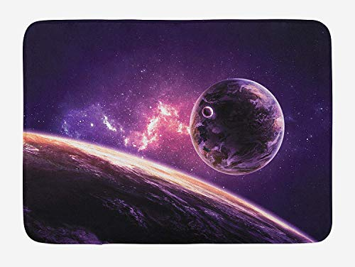 Galaxy Bath Mat, Planets Over Purple Nebula Celestial Comet Magic Rays Universe Astronomy Picture, Plush Bathroom Decor Mat with Non Slip Backing, 23.6 W X 15.7 W Inches, Magenta Mauve
