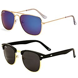 Royal Son Blue Mirrored Square Aviator and Black Clubmaster Unisex Sunglasses Combo