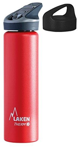 Laken Thermo Jannu Trinkflasche aus Edelstahl, Thermoflasche Vakuumisoliert; Trinkkappe mit Strohhalm 0,75l TJ7, Rot + extra Classic Trinkverschluss (Camelbak-classic-trinkflasche)