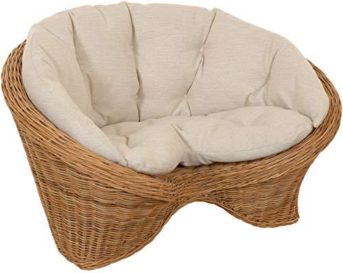 korb.outlet Lotus-Stuhl Meditationssessel aus echtem Rattan/Yoga Sitz zur Meditation Sessel (Ungeschält Natur mit Kissen)