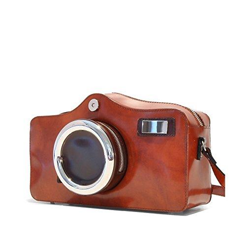 Pratesi Camera italienischen Leder Cross-Body-Handtasche, Schultertasche (Tan braun) Tan braun