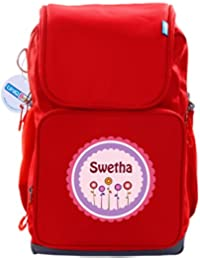 UniQBees Personalised School Bag With Name (Smart Kids Large School Backpack-Red-Pink Flowers)