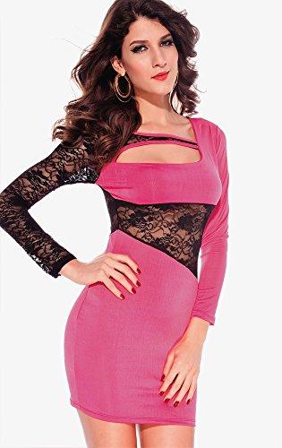 Ostenx Damen Langärmelige Splice Nightclub mini Spitze Kleid Rosa