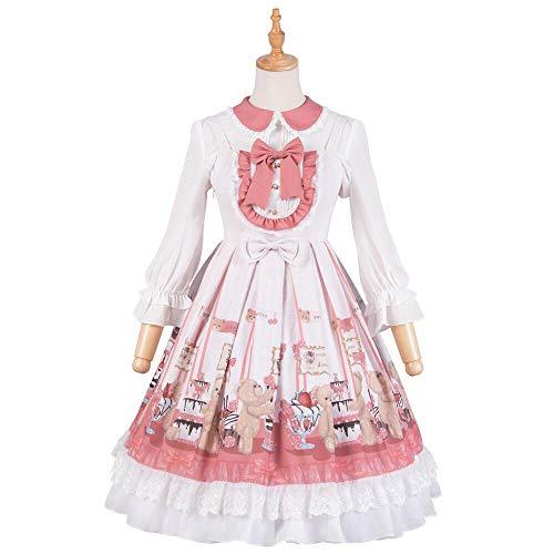 Mini-tee-party-kleid (QAQBDBCKL Lolita Ärmelloses Kleid Gedruckt Cub Schöne Mädchen Lolita Mode Lolita Maid Cosplay Tee Party Loli Lolita Puppe Prinzessin)