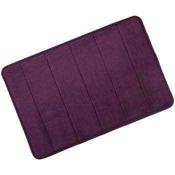 Plum Microfibre Memory Foam Bathroom Bath Mat With Non Slip Back 40 x 60cm
