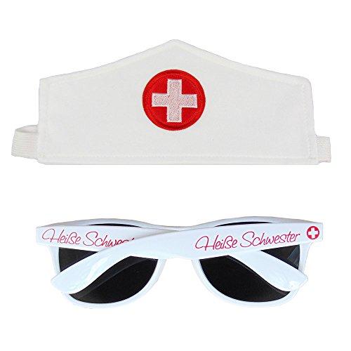 Partybob Krankenschwester Kostüm Set - Haube - Sonnenbrille