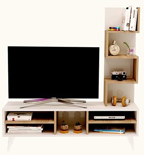 LILY Ensemble de meubles de salon - Blanc ( Brillant ) / Avola ( Mat) - Meuble TV dans es couleurs brillantes avec étagères en moderne design