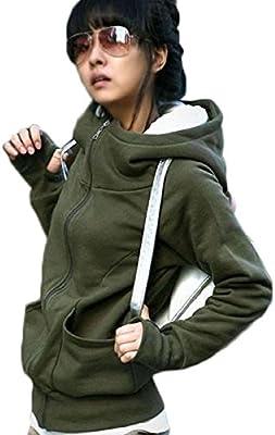 Tongshi Señora Sudadera con capucha de la chaqueta Pullover Encase dedo de manga larga