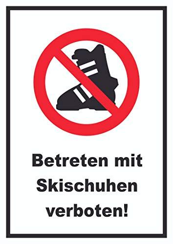 HB-Druck Betreten mit Skischuhen verboten! Schild A0 Rückseite selbstklebend