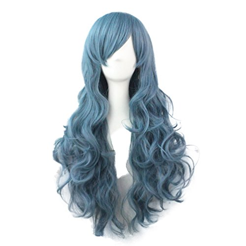 Rise World Wig 70cm Lange Ganz lockige wellenförmige Perücken Cosplay Partei Light Blue Glamour (Light Blue Perücke)