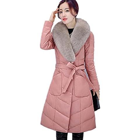 ZZHH cuoio delle signore cappotto di pelliccia con collo di pelliccia di volpe . pink . xl
