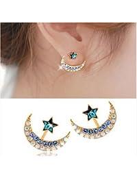 TaoNaisi Pendientes de cristal con forma de estrella de luna para mujer, con cristales de imitación
