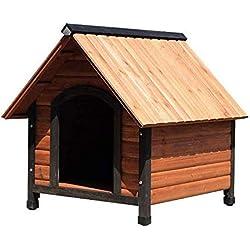 JTKDL Casa del animal doméstico del perro al aire libre a prueba de agua Tiempo de madera casa del animal mascota de la perrera de madera natural perro casero de la casa con el tejado Perfecto for pat
