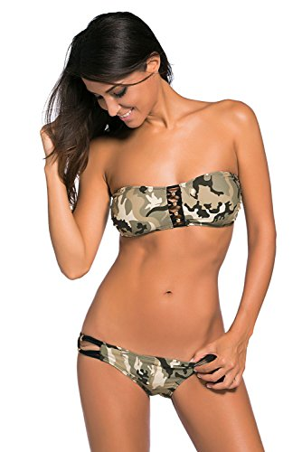 Futurino Damen Sommer Strand Urlaub Camouflage Pattern Bandeau Top Low Rise Bottom Bademode Bikini Bademode Bikini-Set Badeanzug XL/US8 Olive (Badeanzug Camouflage Bademode)