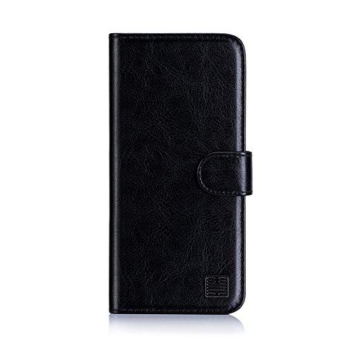 32nd PU Leder Mappen Hülle Flip Case Cover für Nokia 1 (2018), Ledertasche hüllen mit Magnetverschluss und Kartensteckplatz - Schwarz