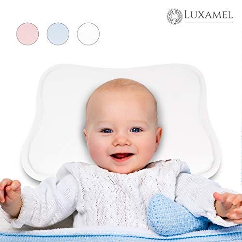 Luxamel | Orthopädisches Babykissen | Ergonomisches gegen Plattkopf und Verformung | Für Säuglinge und Kleinkinder | 100% Schadstofffrei | Weiß