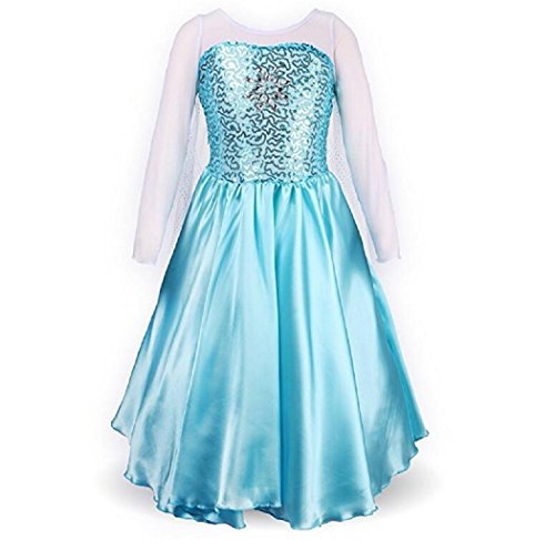DaHeng Little Girls Princess Elsa Fancy Dress Costume (Back Top Neck Scoop)