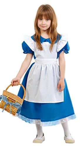 Im Wunderland Alice Kostüm Klassische - blaues Märchen Kleid - Kostüm für Mädchen Gr. 110 - 146, Größe:128/134