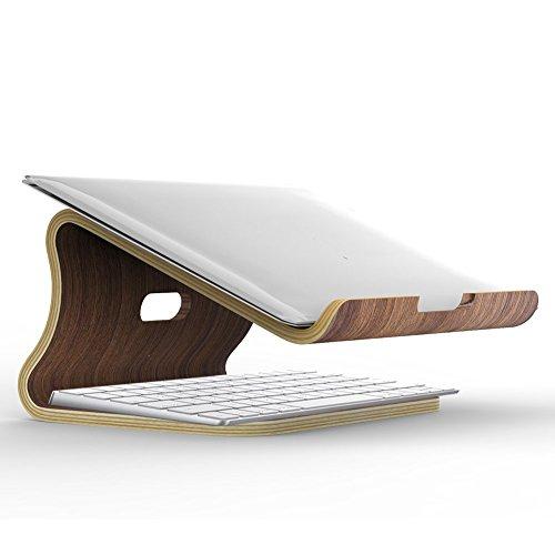 Samdi Holz Laptop Stehen/Universelle Laptop Halter Elegante Holz Notebookständer PC Halterung Kühlung Cooling Stand Haltewinkel Sockel für MacBook Air/Pro Retina (Schwarze Walnuss) - Holz-tastatur 15 Macbook Pro