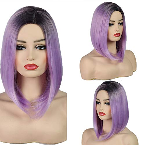 Upxiang Damen Perücken Kurze Gerade Synthetische Perücken Lila Bob Volle Haar Atmungsaktiv Kopfumfang Verstellbar Wig für Halloween Cosplay Karneval Fasching Party