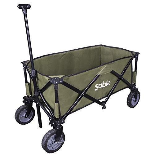 Sable SA-HF039 Bollerwagen Faltbarer Handwagen Transportwagen Gartenkarre Faltwagen für Einkaufen, Campen, Gartenarbeit, bis 120 kg belastbar, 108 x 54 x 97 cm (Grün)