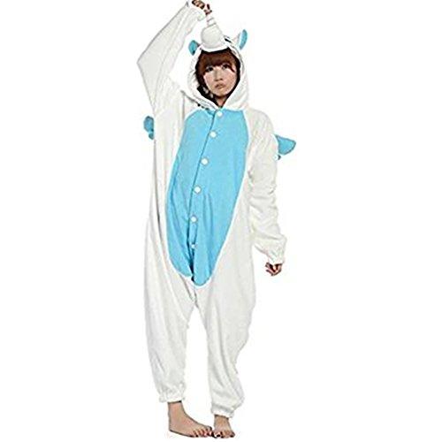 Moolee Animal style kigurumi Pyjama Adulte Anime pyjamas tenue Onesie Cospaly Fête Flannels costume(M, blue unicorn)