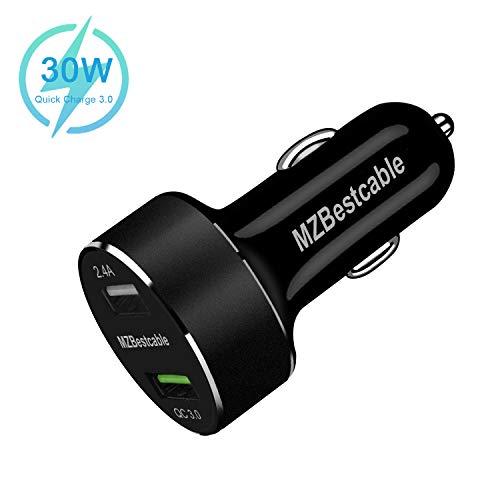 30W Caricabatterie Auto Per Apple Iphone 11 Pro XS MAX XR X 8 7 6 6S Plus 5S SE 5C Samsung Galaxy A30S A50S A70S A20S A7 A3 A5 2016 2018 Huawei P8 P9 P10 Lite 2017,Caricatore USB 2 Porte 2.4A+QC 3.0