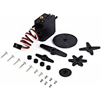 Best price for 20kg RC Servo with Dual Ball Bearing, Aluminium Case, Metal Servo Horn, Metal Bracket for Robot(Control Angle 270) from radiocontrollers.eu